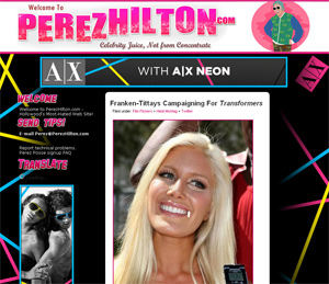 PerezHilton.com - About to be sold for more money than Sex.com