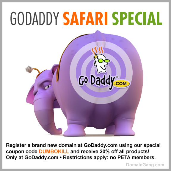 20% off all products at GoDaddy with a printout of this coupon!