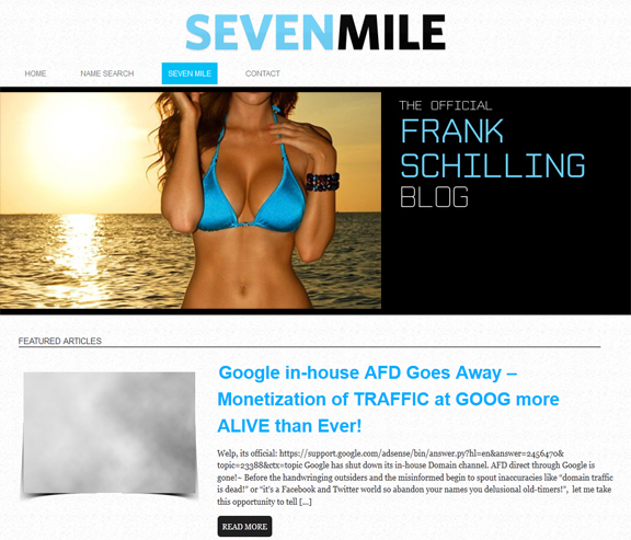 Frank Schilling's 'Seven Mile' blog gets a makeover