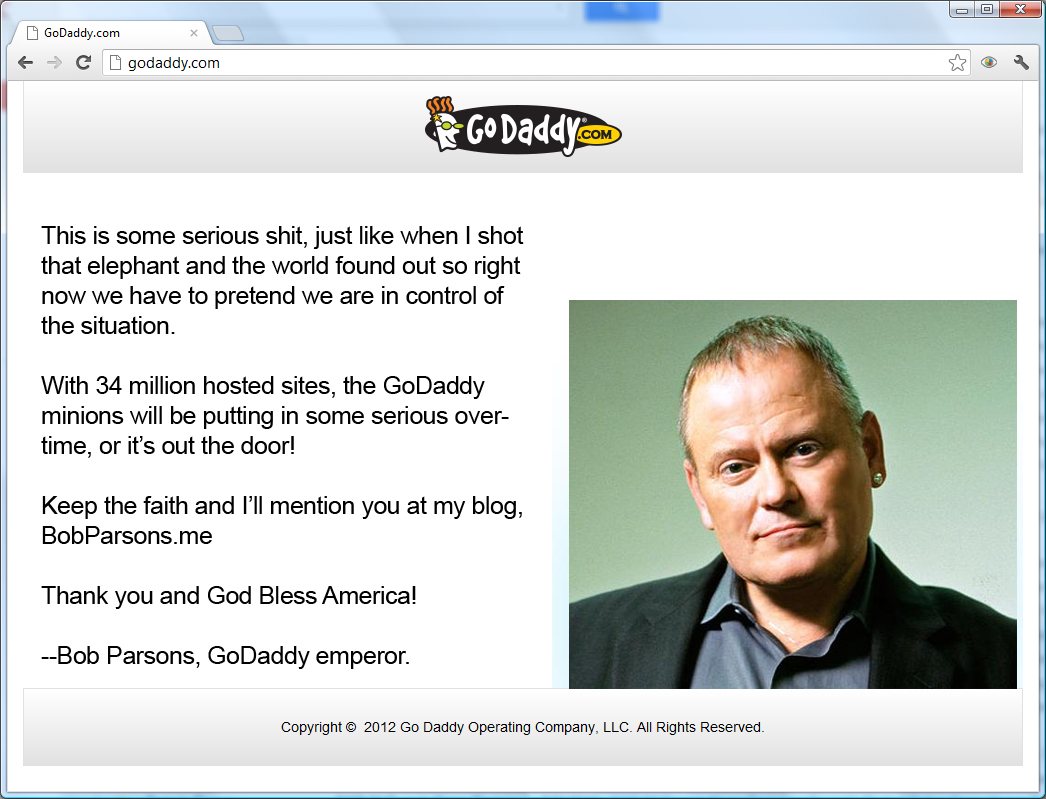 GoDaddy has a temporary home page