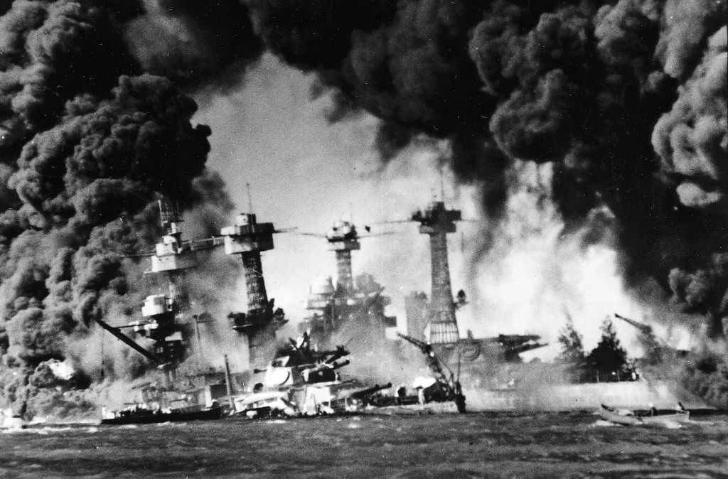 The Japanese attack on Pearl Harbor - December 7, 1941.