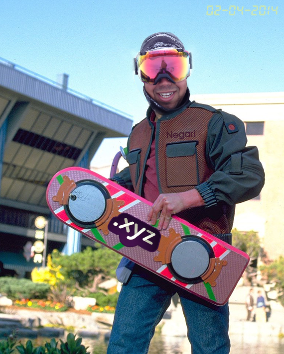 Daniel Negari of .XYZ with the new huvr hoverboard.