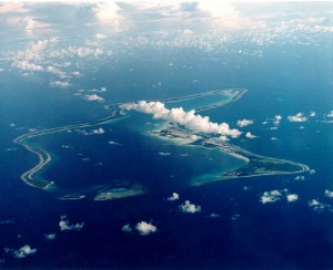 The island of Diego Garcia of the British Indian Ocean Territory.