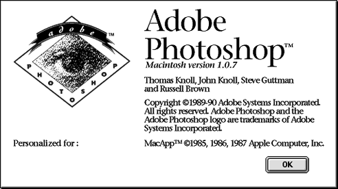 Adobe Photoshop 1.07 circa 1989-1990