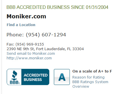 Moniker's BBB accreditation status as it is now.