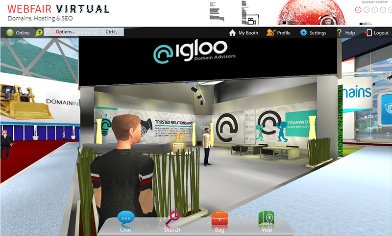 At the Igloo booth.