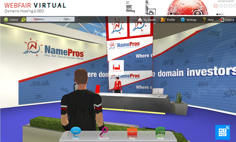 At the NamePros booth.