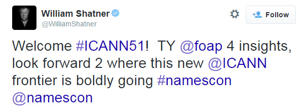 William Shatner's tweet about NamesCon.