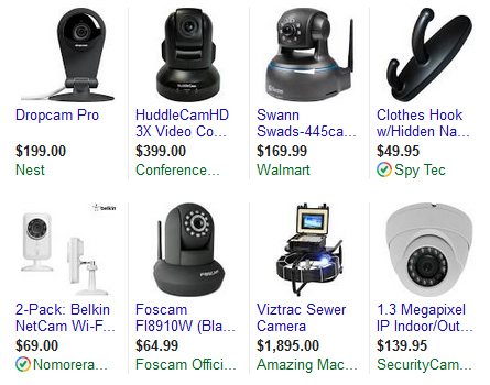 Various types of security cameras.
