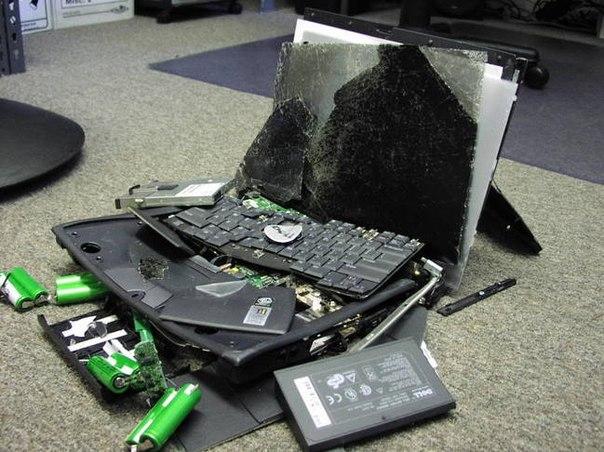 Skriminsky smashed his Dell laptop in rage.