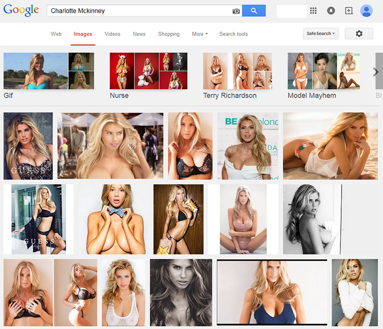 Charlotte Mckinney photo results from Google search.