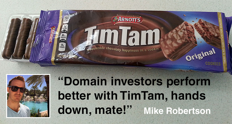 Mike Robertson endorses TimTam cookies from Australia.