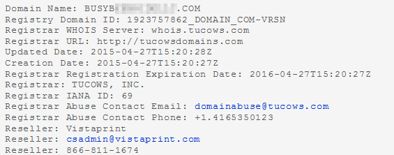 WHOIS for a domain registered at Vistaprint.