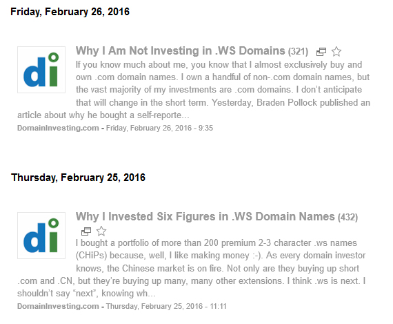 Domain Investing articles on .WS investments.