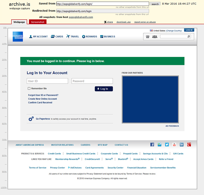 Cybercriminals created this fake portal of American Express.