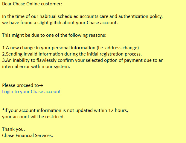 An example of a phishing email targeting Chase customers.