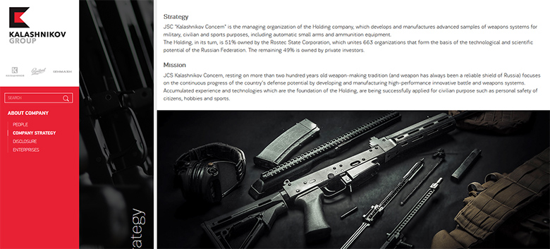 The official Kalashnikov web site.