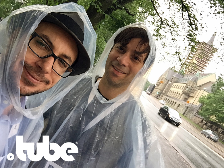 Jason Schaeffer and Constantine Roussos of .Music enjoy the cold rain during ICANN56 in Helsinki, Finland.