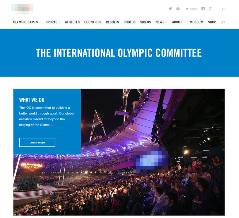 The IOC web site. We had to blur the Olympic logo, just in case.